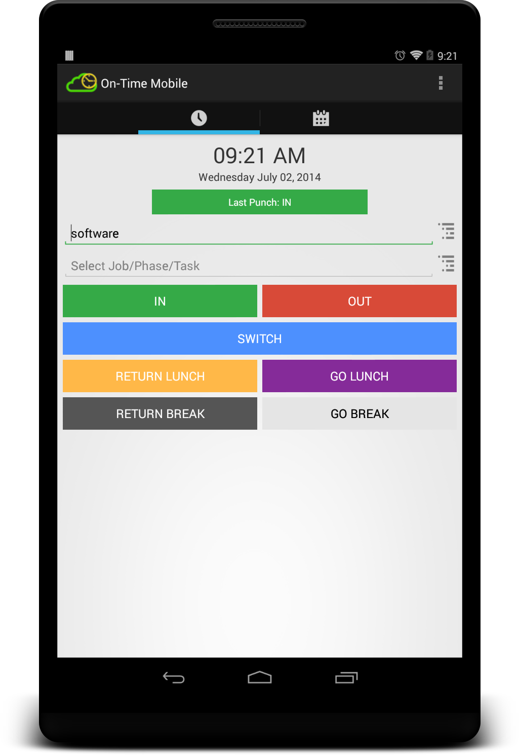 On Time Web Mobile Device Time Sheet