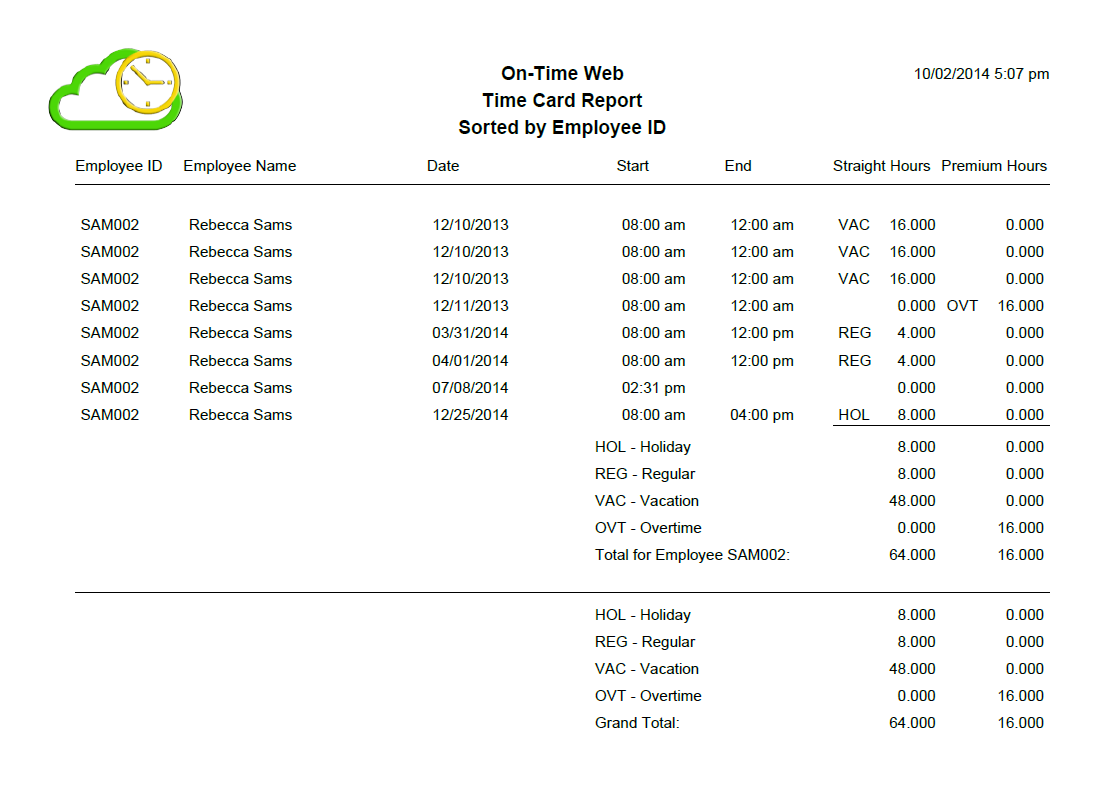 On-Time Web Timecard Report