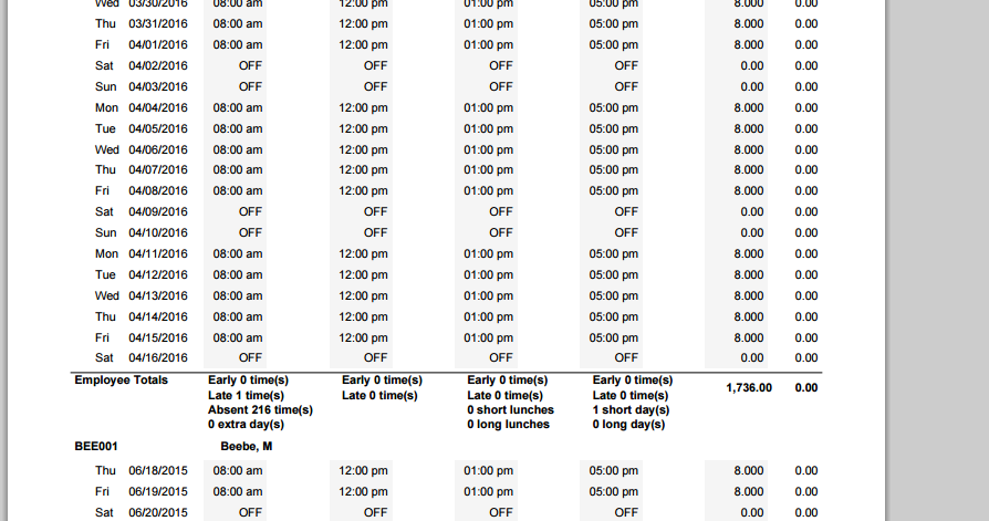 Work Schedule Actual Time Worked Report