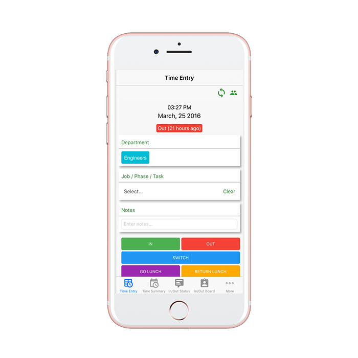 iPhone On-Time Web Timesheet