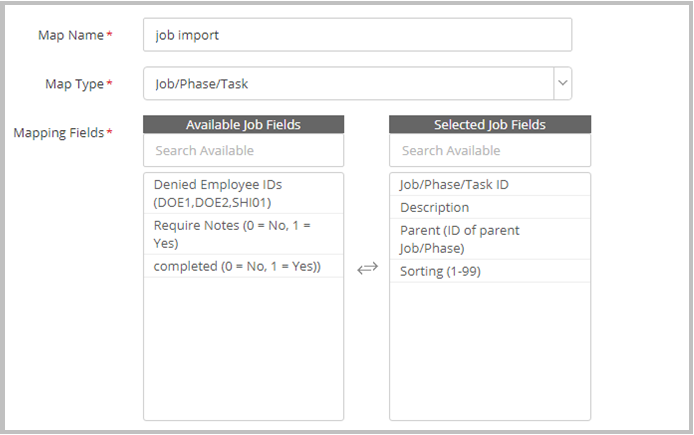 Creating the Job/Phase/Task Import template