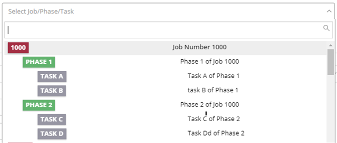 Completed Job/Phase/Task in On-Time Web